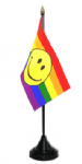 Rainbow Smiley Face Desk / Table Flag with plastic stand and base